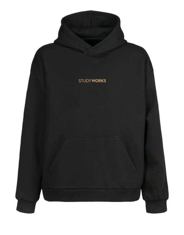 badge hoodie front view